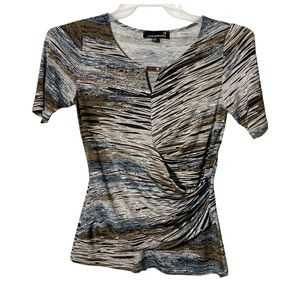 Laura Petites Blouse Short Sleeve Gray Brown Small